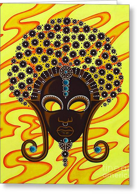 Nubian Modern Afro Mask Greeting Card by Joseph Sonday