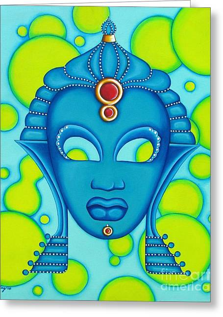 Nubian Modern Mask Blue Greeting Card by Joseph Sonday
