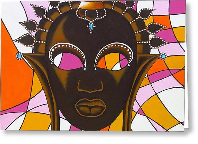 Nubian Modern Mask With Pink Greeting Card by Joseph Sonday