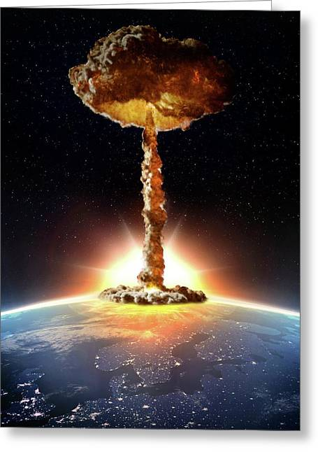 Nuclear Bomb Explosion Greeting Card by Andrzej Wojcicki