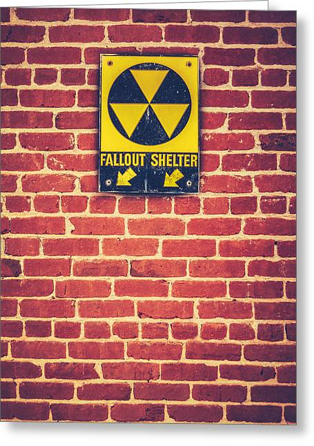 Nuclear Fallout Shelter Sign Greeting Card by Mr Doomits