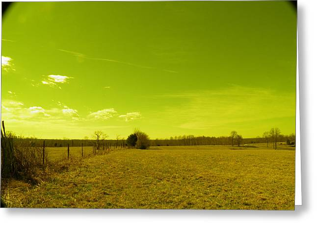 Greeting Card featuring the photograph Nuclear Fencerow by Nick Kirby