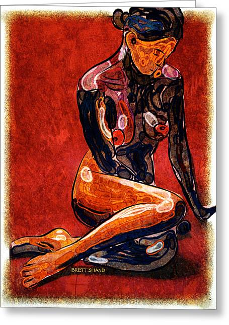 Nude - Woman Sitting Greeting Card