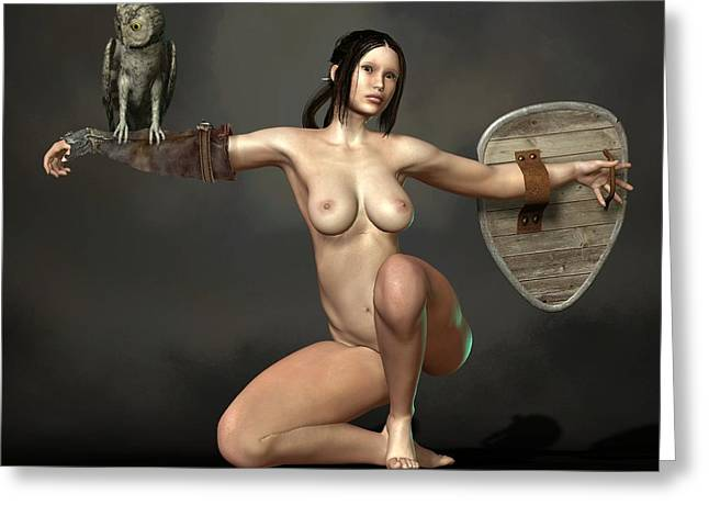 Greeting Card featuring the digital art Nude Athena by Kaylee Mason