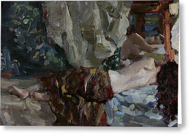 Nude Before The Mirror Greeting Card by Korobkin Anatoly