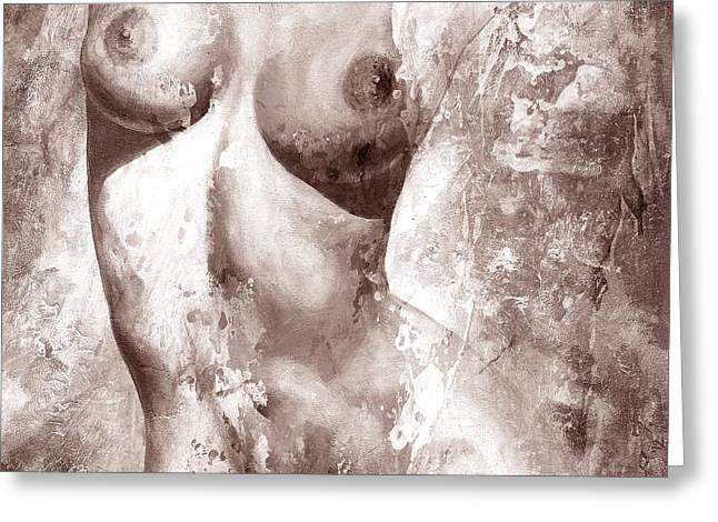 Nude Details - Digital Gray Color Version Greeting Card by Emerico Imre Toth