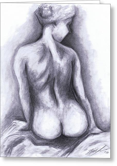 Nude Drawing 01 Greeting Card by Kamil Swiatek