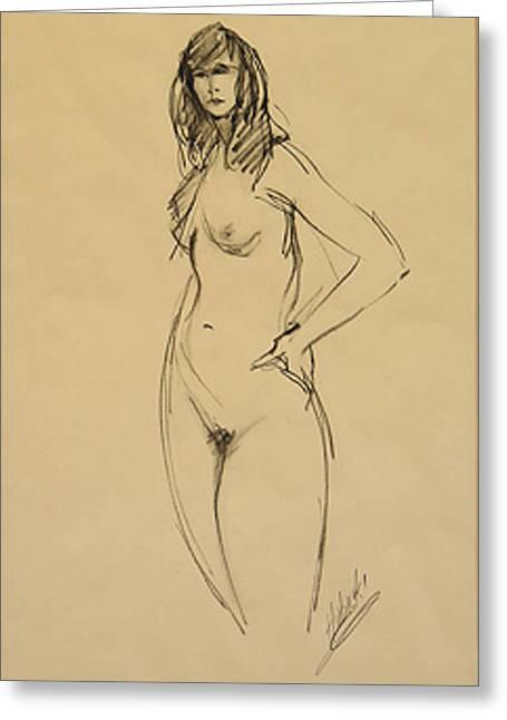 Nude Female Darkhair Beauty Greeting Card