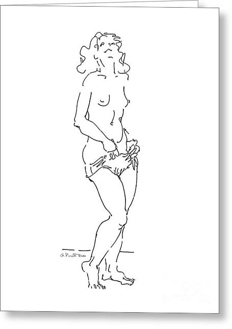 Greeting Card featuring the drawing Nude Female Drawings 4 by Gordon Punt