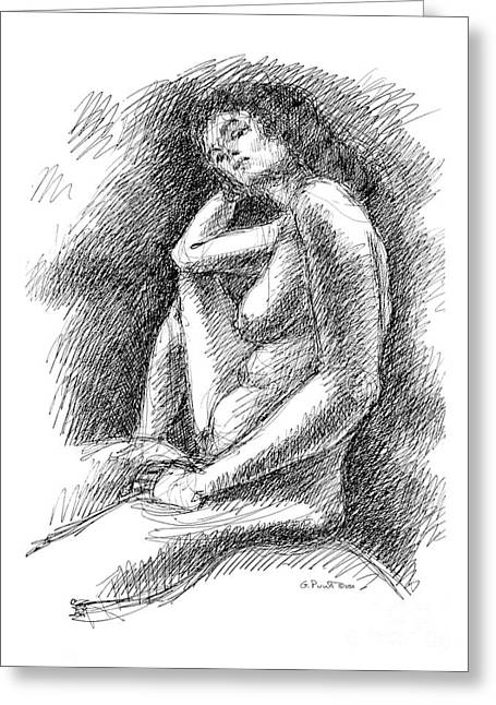 Greeting Card featuring the drawing Nude Female Sketches 3 by Gordon Punt