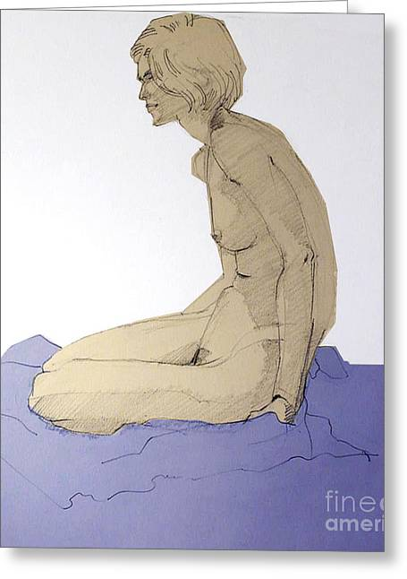 Nude Figure In Blue Greeting Card by Greta Corens