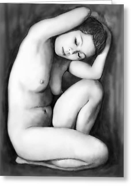 Nude Girl Drawing Art Sketch - 9 Greeting Card by Kim Wang