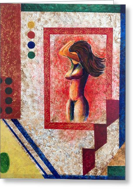 Nude  Girl In Frame  Greeting Card