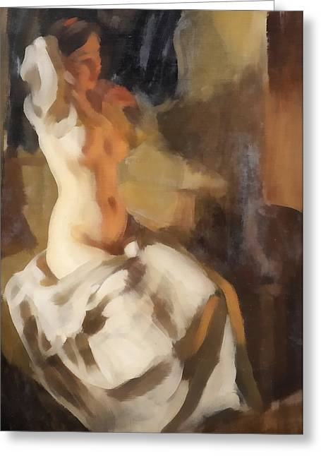 Nude In Fire Light Greeting Card by Anders Zorn