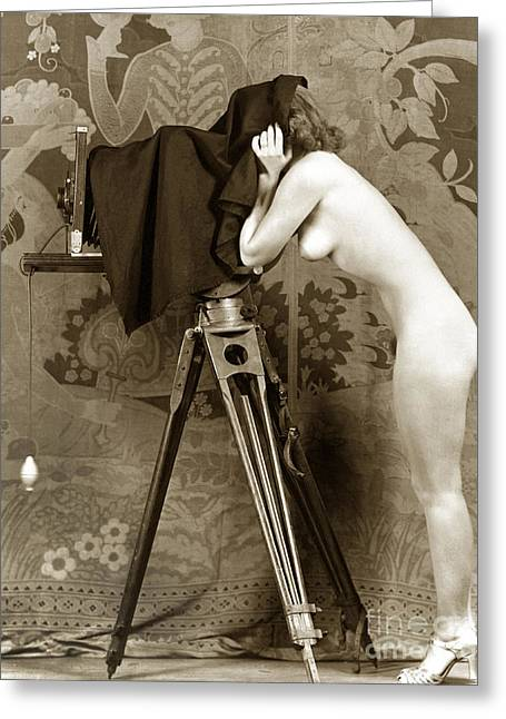 Nude In High Heel Shoes With Studio Camera Circa 1920 Greeting Card