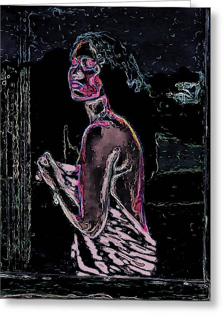 Nude In Window Man Ray Homage Greeting Card by Brian King