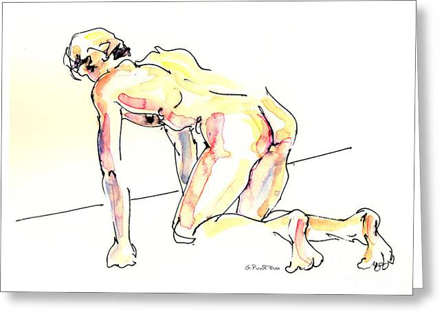 Greeting Card featuring the painting Nude Male Drawings 3w by Gordon Punt