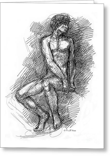 Nude Male Sketches 1 Greeting Card