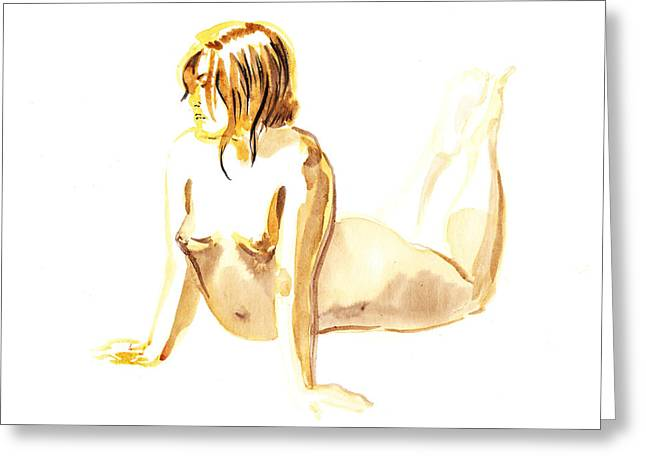 Nude Model Gesture Iv Greeting Card by Irina Sztukowski
