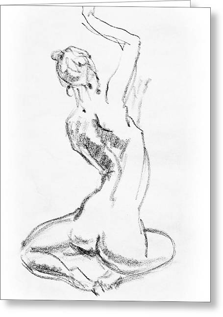 Nude Model Gesture V Greeting Card by Irina Sztukowski