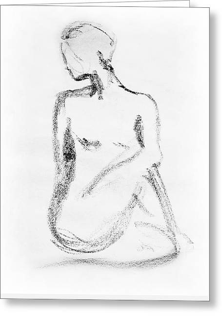 Nude Model Gesture Vi Greeting Card by Irina Sztukowski