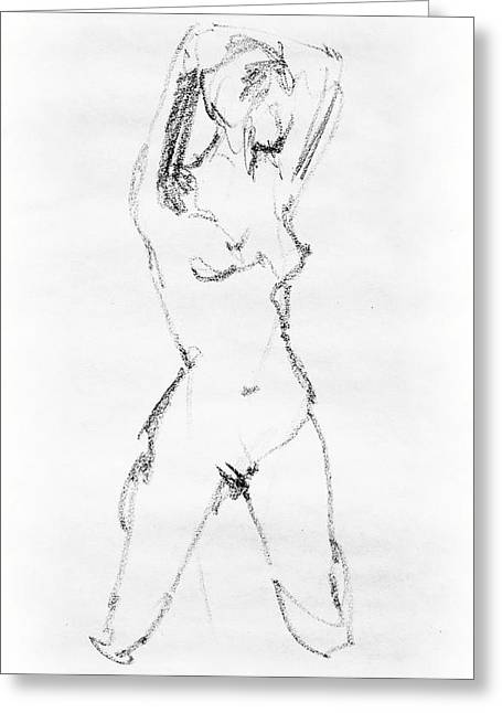 Nude Model Gesture Vii Greeting Card by Irina Sztukowski