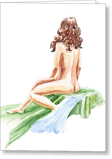 Nude Model Gesture Xii Blue River Greeting Card by Irina Sztukowski