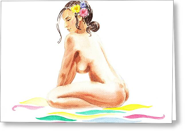Nude Model Gesture Xvi Tropical Flower Greeting Card by Irina Sztukowski