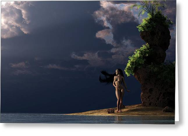 Greeting Card featuring the digital art Nude On A Beach by Kaylee Mason
