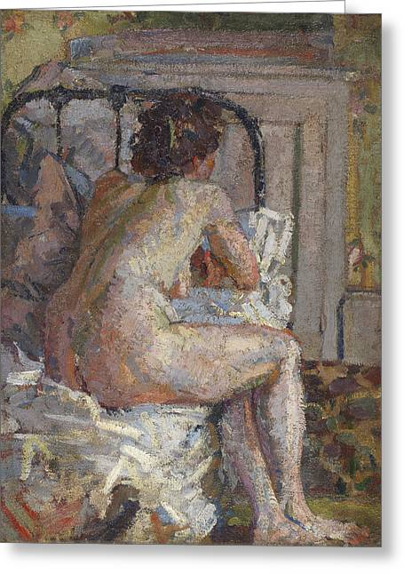 Nude On A Bed, C.1914 Greeting Card