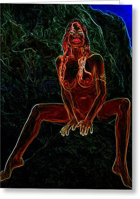 Nude On Rock Man Ray Homage Greeting Card by Brian King