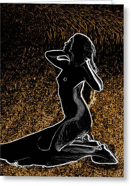 Nude On Sand Man Ray Homage Greeting Card by Brian King
