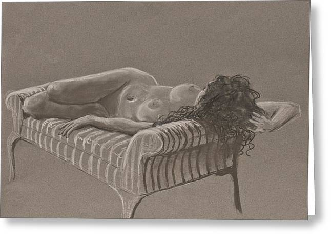 Nude On Striped Sofa Greeting Card by Don Perino