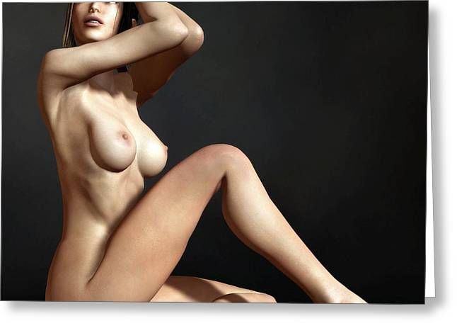 Greeting Card featuring the digital art Nude On The Floor by Kaylee Mason