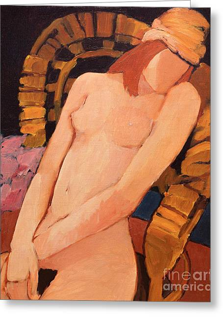Nude Resting In An Armchair Greeting Card
