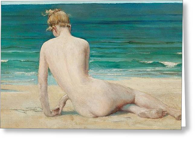 Nude Seated On The Shore Greeting Card by John Reinhard Weguelin