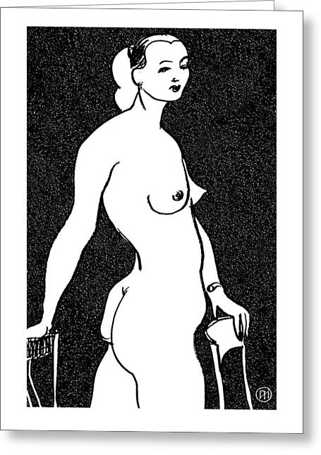 Nude Sketch 4 Greeting Card by Leonid Petrushin