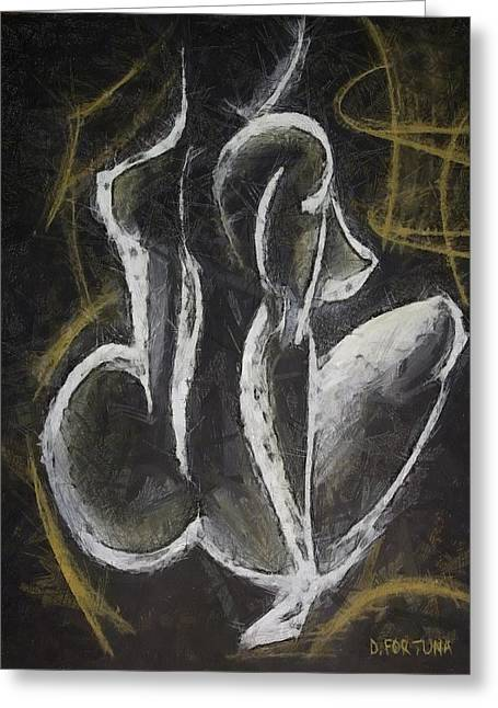 Greeting Card featuring the drawing Nude  Vii by Dragica  Micki Fortuna