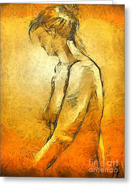 Greeting Card featuring the painting Nude Viii by Dragica  Micki Fortuna