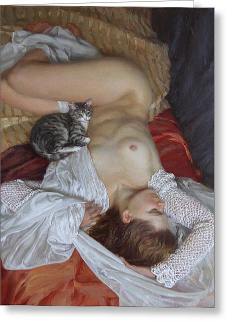 Nude With A Kitten Greeting Card by Korobkin Anatoly