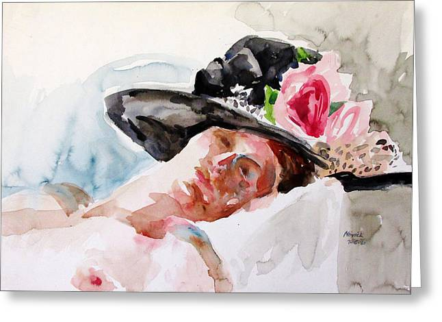 Nude With Flowered Hat Greeting Card