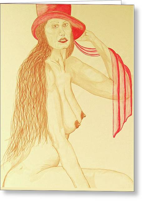 Nude With Red Hat Greeting Card by Rand Swift