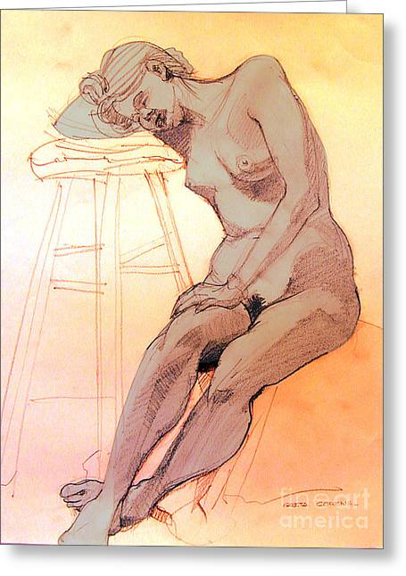 Nude Woman Leaning On A Barstool Greeting Card by Greta Corens