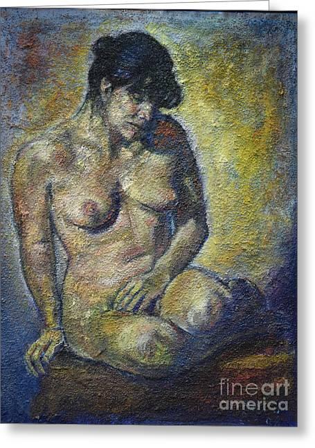 Sad - Nude Woman Greeting Card