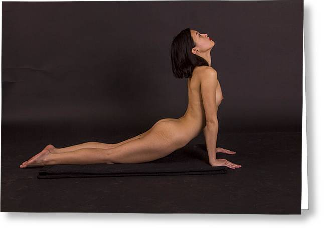 Nude Yoga- Cobra Pose Greeting Card by Stephen Carver
