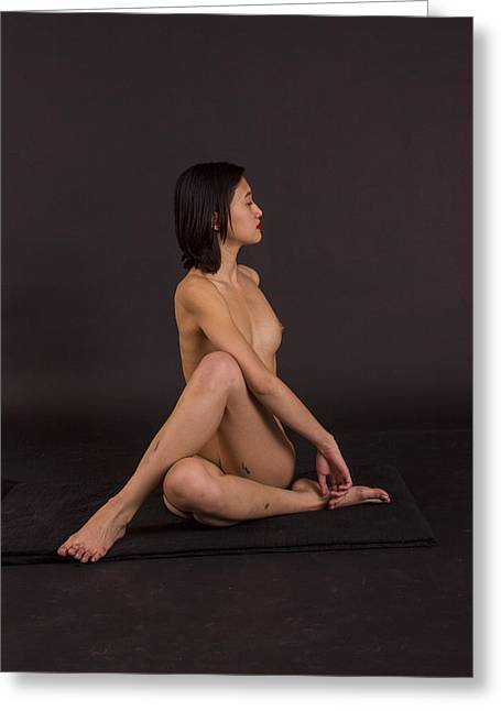 Nude Yoga- Spinal Twist Greeting Card by Stephen Carver