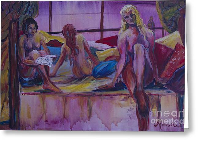 Greeting Card featuring the painting Nudes Reading by Avonelle Kelsey