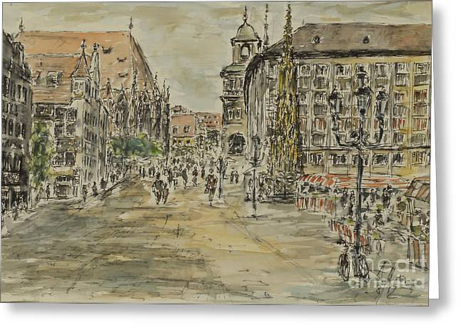 Greeting Card featuring the painting Nuernberg Central Market Place With Gothic Fountain by Alfred Motzer