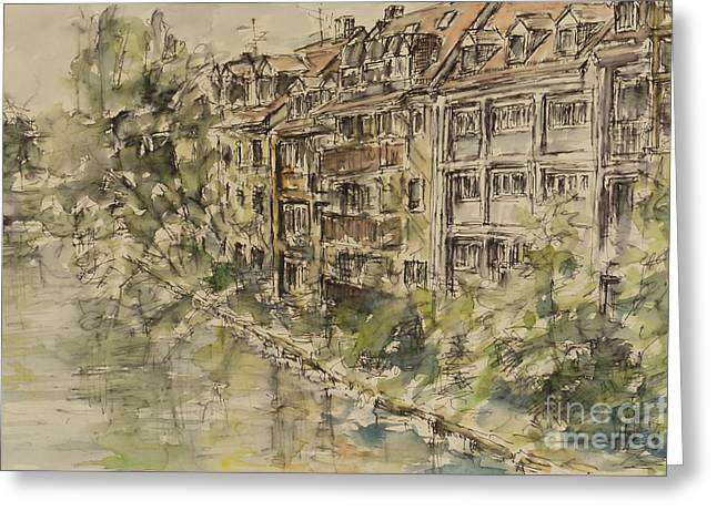 Greeting Card featuring the painting Nuernberg Southern Riverside Of Rednitz by Alfred Motzer