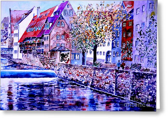 Greeting Card featuring the painting Nuernberg Walkby The Riverside by Alfred Motzer